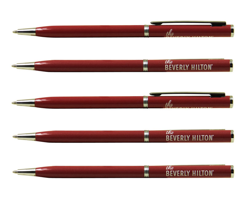 red color metal marriott pen,beverly hilton hotel use promotional logo metal pen
