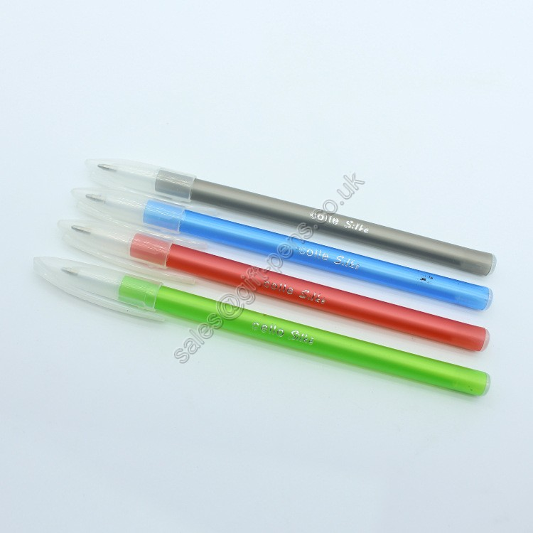 translucent cap smooth writing office stationery around body plastic pen