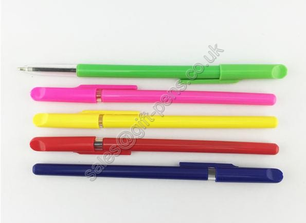 cheap pink green red,yellow color ballpoint pen with cap