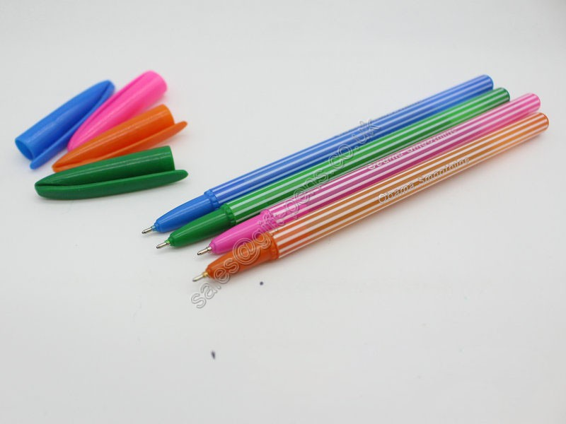 Wholesale blueyellowpinkred barrel plastic stick pen, transparent ball pen for promotion