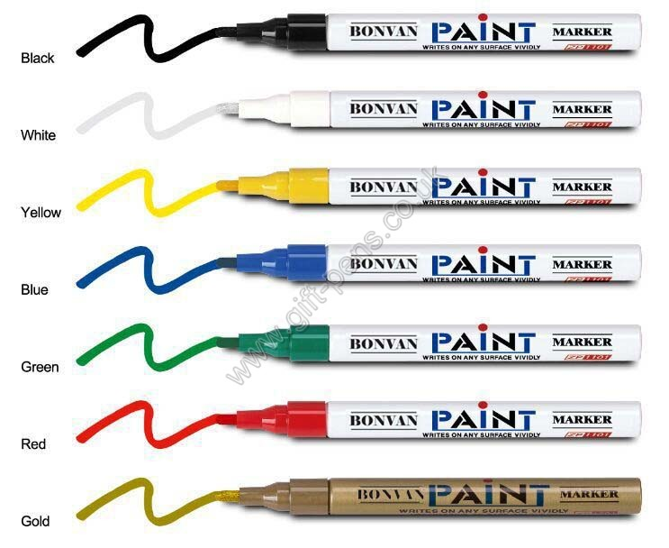 16 colors Good quality acrylic tip Aluminum barrel paint marker for metal